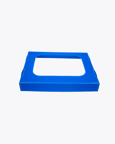Blue paper and cardboard recycling lid with hole 60 litres