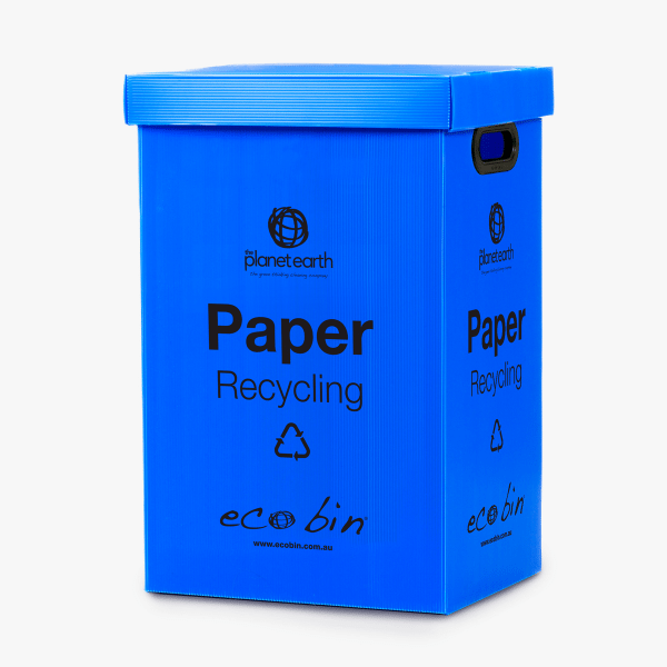 Blue paper and cardboard recycling bin 60 litres