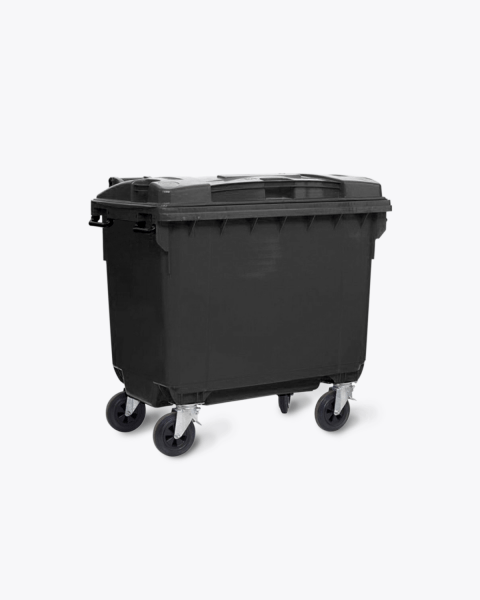 Outdoor black wheelie bin 660 litres
