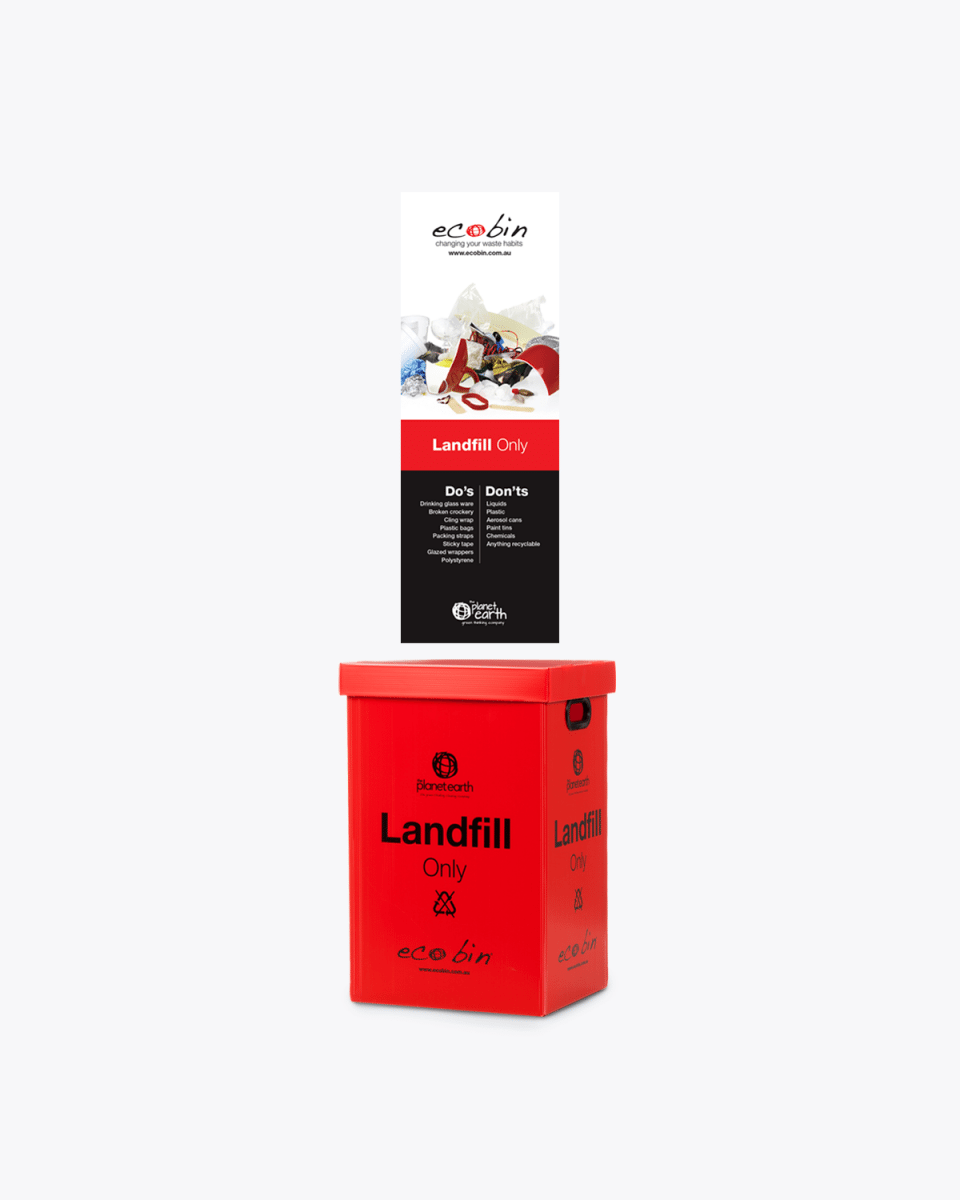 red ecobin poster and red landfill bin
