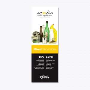 Yellow Mixed Recycling Laminated Educational Poster