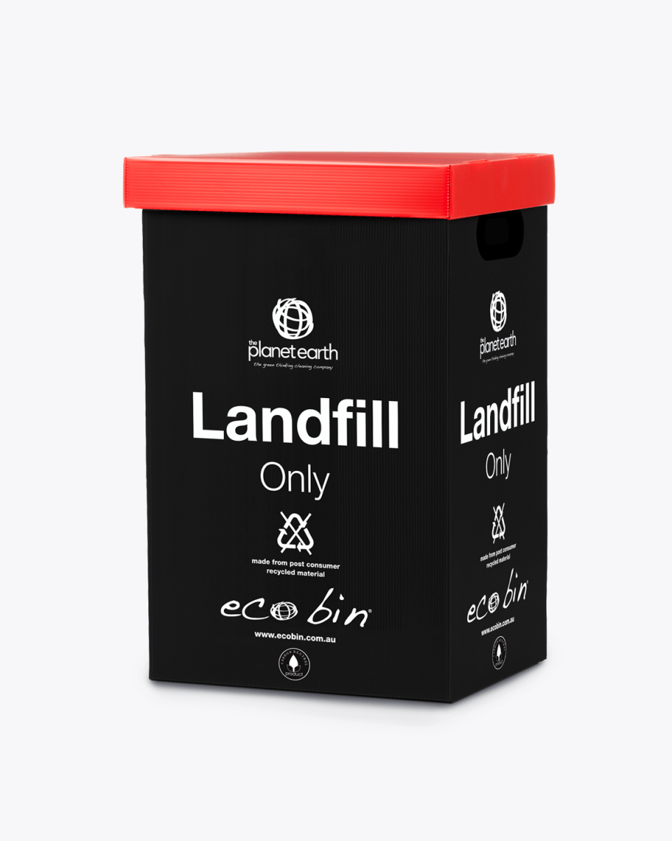 Landfill Office Waste Bin – 60L Black and Red Ecobin