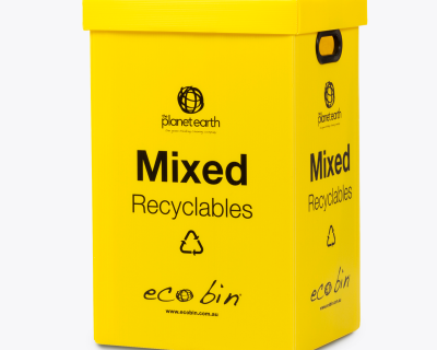 Yellow Recycling bin for mixed recyclables waste 60 litres