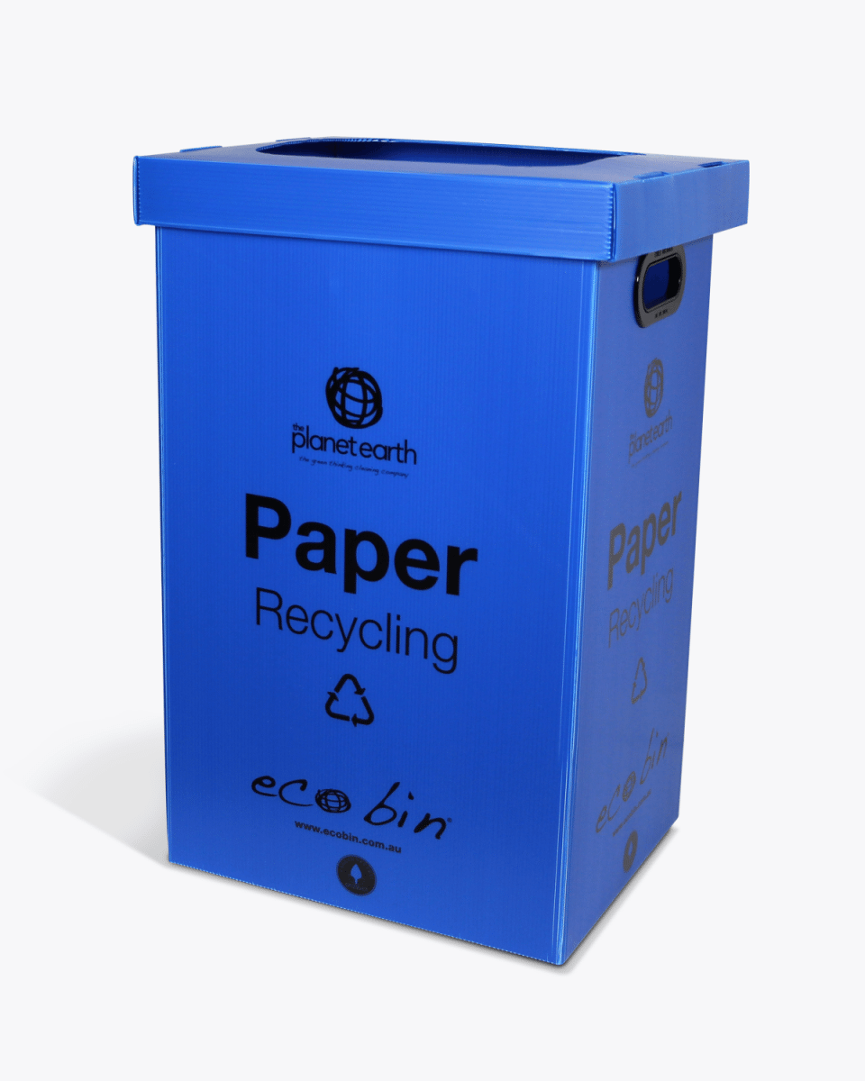 Paper & Cardboard Recycling Bin with Hole – 60L Blue Ecobin