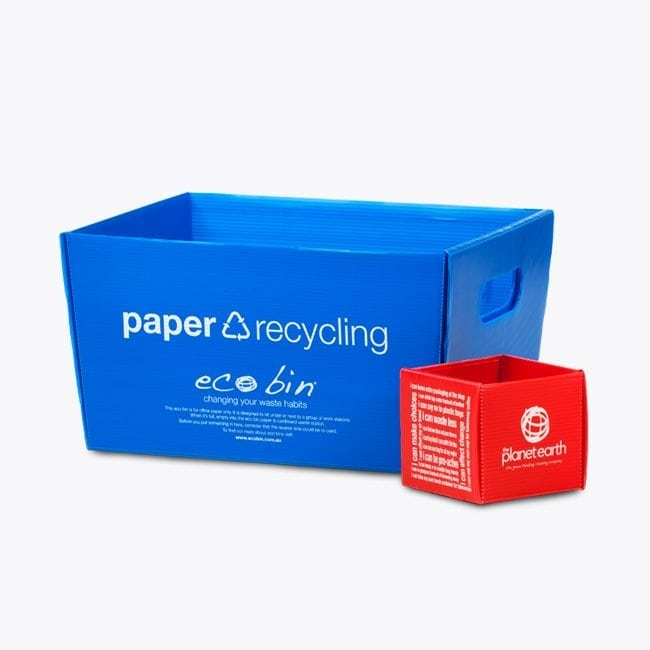 Blue Paper recycling Bin with Red small non-recyclable bin