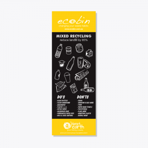 Yellow Mixed Recycling Educational Laminated Poster with New Chalkboard Design