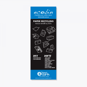 Blue Paper and Cardboard Recycling Educational Laminated Poster with New Chalkboard Design