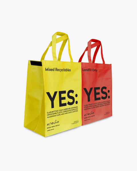 Mixed Recycling & Landfill Portable Waste Bags – Yellow & Red Ecobin
